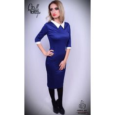 Rochie albastru electric office cu guler alb Dresses For Work, Fashion, Moda, La Mode, Fasion, Fashion Models, Trendy Fashion
