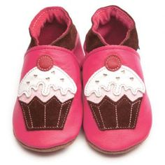 Little Cupcake Fuchsia Inch Blue Shoes. Soft Handmade Leather Baby Shoes £19.00   http://www.babynotincluded.co.uk/sweet-shoes/little-cupcake-fuchsia.html