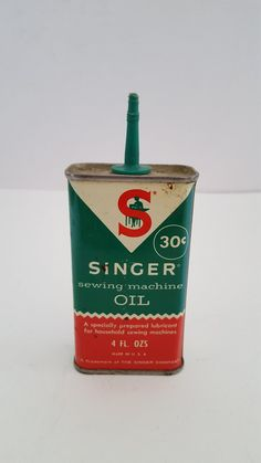 This is an all original Singer brand oil can in as found condition. There is no cap but I may be able to source a cap though it may not be green. Has no barcode and a price of 30 cents so its most likely from early Its about a quarter full. Vintage Oil Cans, Vintage Tins, Vintage Toys 1960s, Vintage Buttons, Vintage Sewing, 60s Toys, Vintage Patio, Etsy Vintage, Childhood Toys