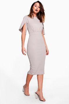 Cesca Split Sleeve Detail Wiggle Midi Dress