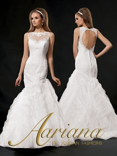 Aariana Style #: 9490 Shown in Diamond White…Long asymmetric Guipure lace bodice with sheer illusion neckline and keyhole back. Buttons and loops over zipper. Bias embroidered skirt with chapel train. Available in sizes 0-34.