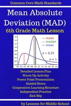 6th Grade Statistics  - Mean Absolute Deviation of a Data Set*****************************************************************************This product covers the first 6th Grade Common Core Math Standard of:6.SPA.2Understand that a set of data collected to answer a statistical question has a distribution which can be described by its center, spread, and overall shape.This lesson focuses on determining the Mean Absolute Deviation of a data set.
