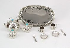 Navajo Handmade Sterling Silver and Turquioise Miniature Tea Set