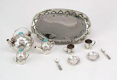 Navajo Handmade Sterling Silver and Turquioise Miniature Tea Set