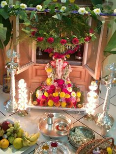 Ganesha Pictures, Ganesh Images, Festival Decorations, Wedding Decorations, Table Decorations, Ganesh Pooja, Shree Ganesh, Buddha Home Decor, Ganesh Chaturthi Decoration