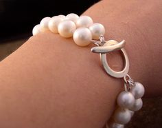 Freshwater pearl bracelet, sterling silver toggle clasp, double stranded, 8mm pearls, $219!