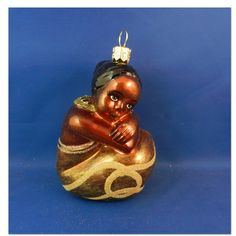 African Girl blown glass Christmas ornament from  Vintagetreasures-ornaments.com