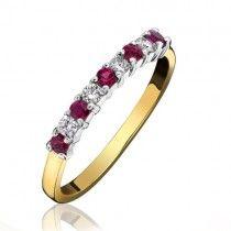 18ct Gold 9 stone Ruby & Diamond Eternity Ring - R:0.25 D:0.11