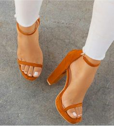 Chellysun Ankle Strappy High Heels Sandals is part of Shoes - Dream Shoes, Crazy Shoes, Me Too Shoes, Heeled Boots, Shoe Boots, Shoes Heels, Strappy Heels, Tan Heels, Shoes Sneakers