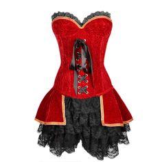 Ensemble Renaissance Rouge Velours Baleines Acier Spiralé | Robes Corsets | Corsets