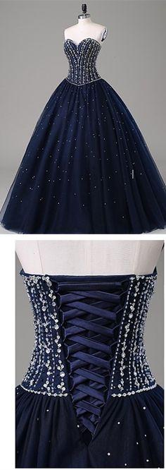 Dark Navy Sweetheart Prom Dress,Long Prom Dresses,Charming Prom Dresses,Evening Dress Prom Gowns, Formal Women Dress,prom dress