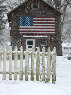 Patriotic Barn with white picket