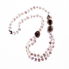 Pearl & Labradorite stone Necklace with 14K clasp from Wanderlust Jewels LLC for $700.00