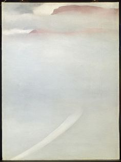 artemisdreaming:  Georgia O'KeeffeAmerican, 1887-1986 Road - Mesa with Mist, 1961, artic.edu (queue) Oil on canvas50.8 x 40.6 cm (20 x 16 in.) Bequest of Paul and Gabriella Rosenbaum, 2002.76© 2013 Georgia O'Keeffe Museum/ Artists Rights Society (ARS), New York
