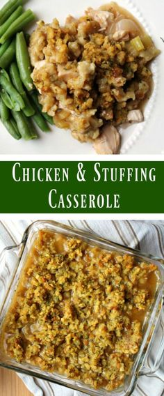 chicken and stuffing casserole - This recipe could easily be changed up to use LEFTOVER THANKSGIVING turkey instead of rotisserie chicken