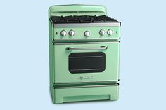 From the people who popularized the retro-style fridge comes the 30-inch Retro Stove, in eight standard colors, including Jadite Green, shown, and 200 custom shades. Its extra-large oven is topped with sealed burners, two able to put out 15,000 Btus. From: @bigchillfridge