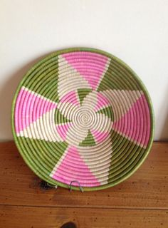Pink and green African basket