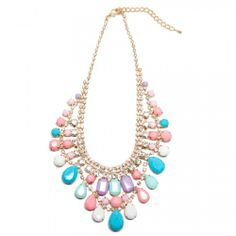 Luxe Pastel Bib Necklace from T and J Designs,  Affordable quality jewelry! Use code TWOYEARS for free gift