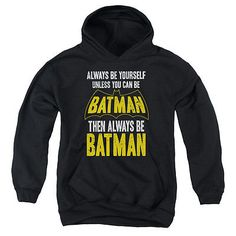 New-Authentic-Batman-Be-Batman-Youth-Pullover-Hoodie-Sizes-S-XL