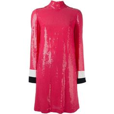 Emilio Pucci sequined longsleeved dress ($2,570) ❤ liked on Polyvore featuring dresses, pink, pink dress, sequin dresses, longsleeve dress, long sleeve dress and long sleeve sequin cocktail dress