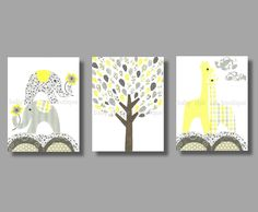 Nursery Yellow and Gray Animal Wall Art, 11x14 Art Print, Room Decor for Children or Kids with Elephants, Tree and Giraffes. $58.00, via Etsy.