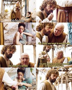 """Game of Thrones 6.01. Tyrion is like """"fuck,I really need to practice my valyrian""""."""