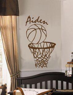 Personalized BASKETBALL NBA Sports Theme Vinyl Wall Decal Boys Nursery Wall Art on eBay!