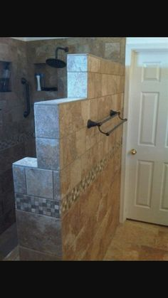 """Bathroom """"Walk In"""" """"onyx Shower"""" Design, Pictures, Remodel, Decor and Ideas - page 106 doorless shower design Small Bathroom With Shower, Master Shower, Bathroom Ideas, Small Bathrooms, Bathroom Remodeling, Shower With Half Wall, Remodeling Ideas, Walk In Bathroom Showers, Tile Walk In Shower"""