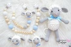 Baby Knitting Patterns, Crochet Bunny Pattern, Crochet Patterns, Crochet Baby Toys, Crochet Animals, Baby Diy Projects, Baby Mobile, Dummy Clips, Stuffed Toys Patterns
