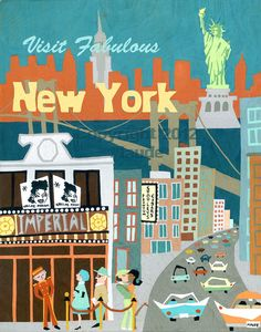 New York City metà secolo moderno viaggio Poster Art Print retrò Vintage Look, teal burnt orange