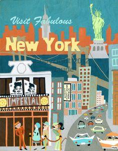 New York City Mid Century Modern Travel Poster by MidCenturyMaude, $35.00