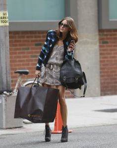 Olivia Palermo. The DVF cardigan and the Proenza Schouler booties. <3