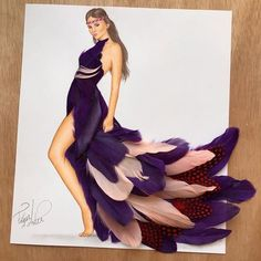 Dress made out of different feathers