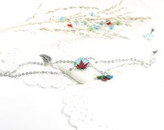 Red Leaf Turquoise Tree Green Blue Rustic Woodland by CutTheFish, $20.00