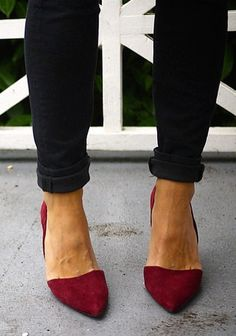 The Kirsty Files dresses up her look with our bold red suede Adelia D'Orsay Pumps | Banana Republic
