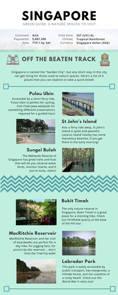 6 nature spaces in Singapore to explore: Pulau Ubin, St John's Island, Sungei Buloh, Bukit Timah, MacRitchie Reservoir, Labrador Park