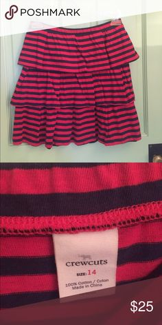 Crewcuts orange and blue striped skirt Never worn. Tiered, striped skirt. Would fit an xs adult. J. Crew Skirts Mini