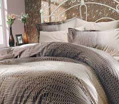bepoe - 100% Cotton 4pcs Brown Classic Full Double Size Duvet Quilt Cover Set