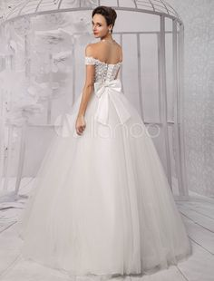 Two-Pieces Crop Top Off-the-shoulder Ball Gown Wedding Dress With Tulle Skirt - Milanoo.com