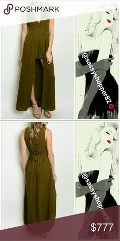 """Lovely Olive Green Maxi romper Brand new, no tags Boutique item, price is firm   Lovely sleeveless olive green romper with skirt detail. Flowing and feminine. Plugging neckline, Fitted waist, Zips up in back. Includes belt Pair with your favorite heels and a lovely necklace.  Small Bust 34""""/ Waist 29"""" /Length 55.5"""" Medium Bust 36""""/Waist 31""""/Length 56"""" Large Bust 38""""/Waist 33""""/ Length 56"""" Meausrements are approx  100%polyester       Pants Jumpsuits & Rompers"""