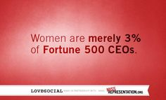 """Women are merely 3% of Fortune 500 CEOs."""
