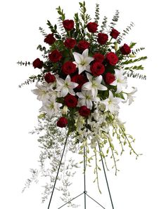 Classic red & white sympathy/funeral standing spray
