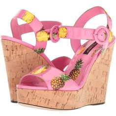 Dolce & Gabbana Patent Pineapple Print Cork Wedge 90mm (Pink) Women's... ($795) ❤ liked on Polyvore featuring shoes and sandals