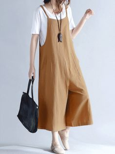 Hot-sale O-NEWE Casual Women Loose Solid Strap Pocket Overall Jumpsuits - NewChic Mobile.
