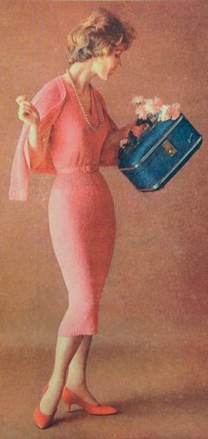 Pink knit jacket dress made of Estron Acetate, 1958