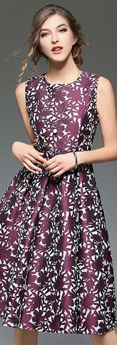 Purple Belted Floral Jacquard Dress