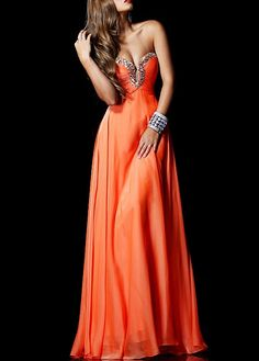 Buy discount Stunning Silk-like Chiffon A-line Strapless Sweetheart Full Length Beaded Prom Dress at Dressilyme.com