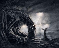 Guardian of the Mountain, Vuorenhaltija by TeroPorthan on DeviantArt Horror Music, Digital Art Fantasy, Nature Spirits, Best Horrors, Fantasy World, Fantasy Characters, Dark Art, Mythology, Lion Sculpture