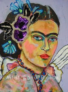 """Flight of the sparrow."" A Frida Kahlo inspired painting. http://www.etsy.com/listing/153204809/flight-of-the-sparrow?ref=shop_home_active"