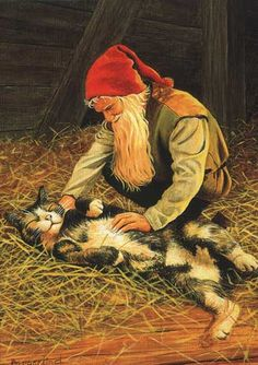 A kind gnome rubbing a friendly kitty.